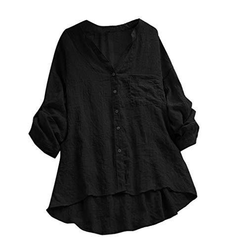 Baumwolle Damen Tasche (OHQ Damen Baumwolle Leinen T Shirt Oversized Einfarbige Knöpfe Oberteile Hoodie Frauen Casual Taschen Bluse Lose mit Kapuze Langarmshirt Hemd Tuniken)