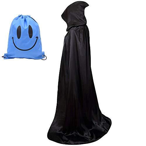 Myir mantello con cappuccio, adulto halloween lungo mantello halloween costume unisex strega wicca mantello (l, nero)