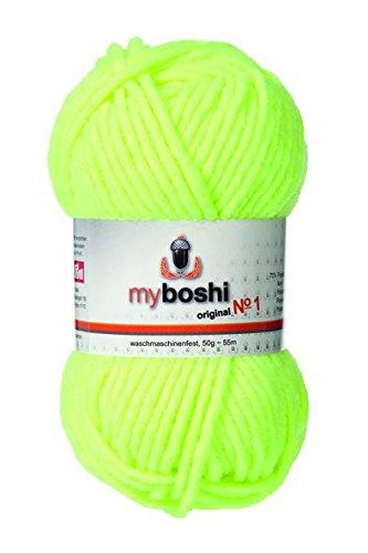 myboshi Häkel-/Strickgarn, Wolle-Mix, Neongelb