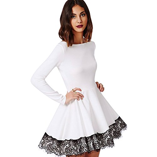 Rrimin Lace Color Matching Long Sleeve Close-Fitting Dress (M)