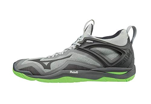Mizuno Unisex Erwachsene Wave Mirage 3 Handballschuhe, Grey (High Rise/Black/Green Gecko 37), 45 EU