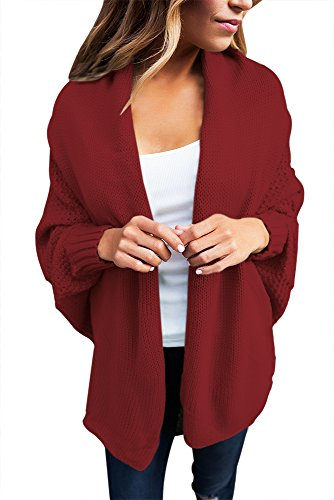 New Burgund Chunky Knit Cardigan Winter Wear Strickwaren Casual Wear Jacken Größe UK M (Burgund Strickjacke)