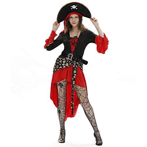 JNTM Piratin Kostüm Meere Der Frauen, Halloween-Cosplay-Kleidungsstück Der Königin Buccaneer Grausames Piratenkostüm Meere Frauen Passend Für Die Damenbekleidung Halloween-Kostümball-Piraten,XXL (Verwegene Piraten Mädchen Kostüm)