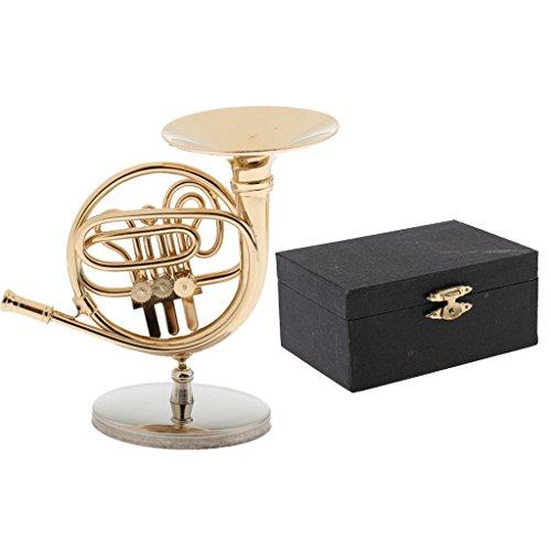 Homyl 1: 6 Modelo Instrumento Musical en Miniatura con Caja de Titular Decoración para 12 Pulgadas Figuras de Acción - Cuerno