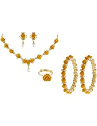 Nisa Pearls Yellow Synthetic Coral Combo Set Of Necklace Set, Pair Of Bangles, Ring, For Women