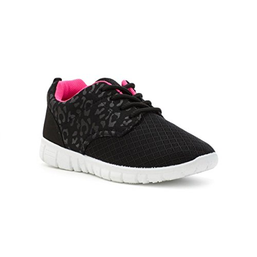 Lilley Kids Black Mesh Lace Up Lightweight Trainer - Size 1 - Black
