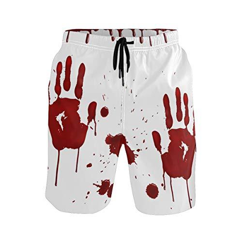 BONIPE - Bañador para Hombre, diseño de Zombie de Halloween, Color Rojo Multicolor Multicolor M