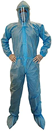 VOUCH Blue Medical PPE KIT with Disposable Hooded Full Body Coverall, Latex Gloves, Shoe Cover, Face Mask, Fac