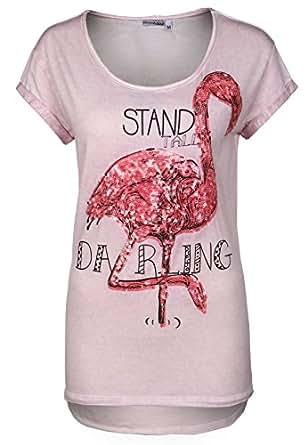 Stitch & Soul Stitch & Soul Damen Shirt mit Pailletten-Print | kurzarm T-Shirt Rundhals T-Shirts