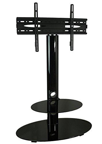 Mountright CS001Glanz-TV-Ständer mit Swivel Mount Halterung für 32bis 127cm LED, LCD & Plasma Bildschirm–Schwarz Glas (One Regal) (Swivel-mount-plasma-tv-ständer)