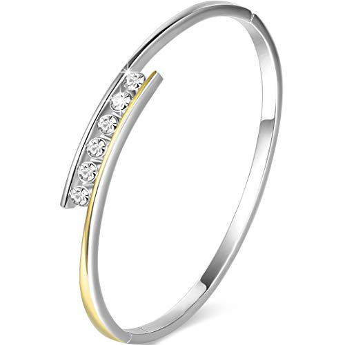 Angelady Klassisch Damen Armband Armreif Silber mit Kristallen von Swarovski| Elegant Armband Frauen-Geschenk für Frauen Damen - Einfache Kostüm Können Sie Tragen Zu Arbeiten