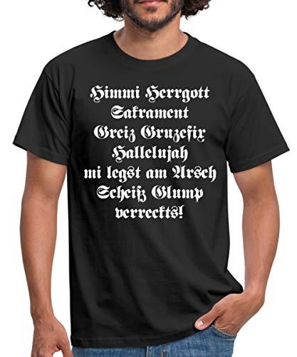 Himmi Herrgott Sakrament Bayrisch Männer T-Shirt, XXL, Schwarz