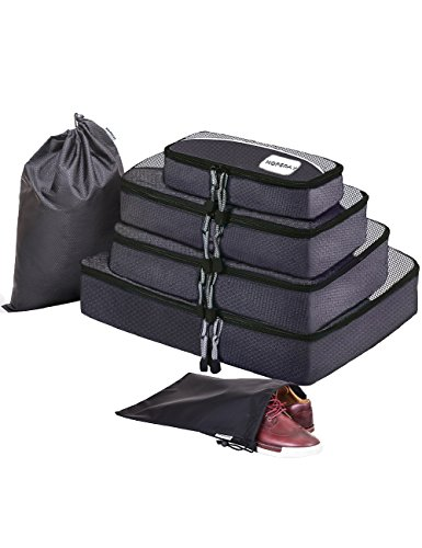 HOPERAY Packing Cubes Travel Organizer Mesh Bags - 6 pcs Lightweight Set Travel Gear Bag Accessories for Women Men Kids Carry-on Luggage Suitcase and Backpacking Slim Medium & Large(black)