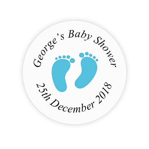 48x personalisiert 4 cm Blau Fußabdruck Aufkleber - BABY SHOWER Geschenkaufkleber - Schwangerschaft Party Etiketten,Popkorn Tüten,Babyparty Gastgeschenk,Süßigkeiten Tüten,Danksagungen - Rd 171