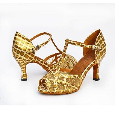Scarpe da ballo-Non personalizzabile-Da donna-Salsa-Tacco a rocchetto-Finta pelle-Nero / Bianco / Dorato Gold
