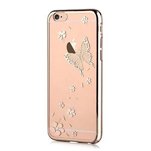 [A4E] Handyhülle passend für Apple iPhone 6 (6;6S) Premium Hartschale mit Schmetterling und Blüten Muster (rosé, transparent) Schmetterling - gold