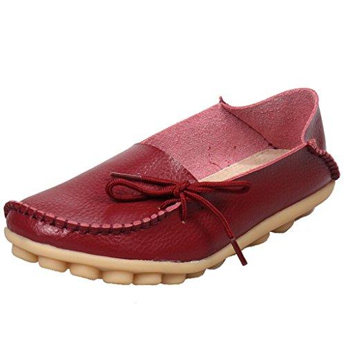 SIMPVALE Damen Mokassin Leder Loafers Fahren Schuhe Comfort Freizeit Flache Schuhe Wine Red
