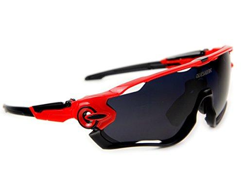Queshark Fahrradbrille Sport Sonnenbrille für Herren und Damen Polarisierte, Sportbrille mit 3 Wechselobjektiven und Frauen Radsports - 2