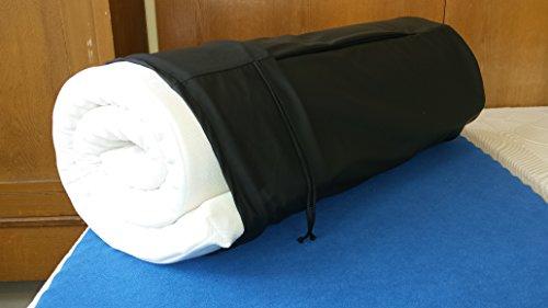 Reise-Matratzenauflage; 6 cm Viscoschaum und Matchsack schwarz (Frottee weiss)