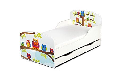 Confortable Fonctionnel Lit Simple Moderne Lit d'Enfant Toddler Avec Matelas et Un Tiroir Couleur Blanc Motif de Hiboux Dimensions 140x70 Chambre Pour Les Enfants Meubles Pour Enfants
