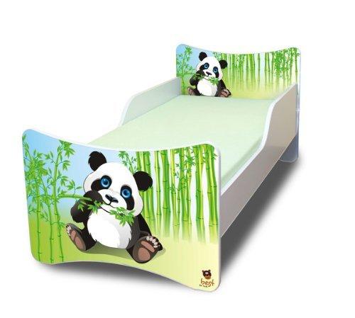 Best For Kids BFK Babybett KINDERBETT mit Schaummatratze mit TÜV ZERTIFIZIERT Jugendbett 70x140 + Matratze + Lattenrost +WANDAUFKLEBER (Panda)