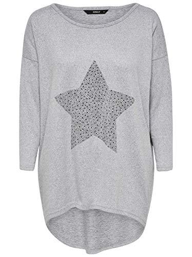 ONLY NOS Damen Langarmshirt onlELCOS Stud 4/5 TOP JRS, Grau (Light Grey Melange Detail:Star), 38 (Herstellergröße: M)