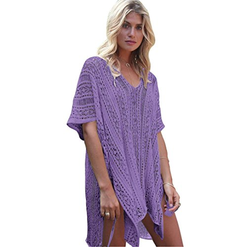 SUCES Frauen Baden Beach Cover Up Kleid Bikini Badeanzug Bademode Crochet Smock Damen Kurzarm V-Ausschnitt Tops Karierte Transparent Tüll Oberteile (Purple) (Frauen Badeanzug Cover Up Kleid)