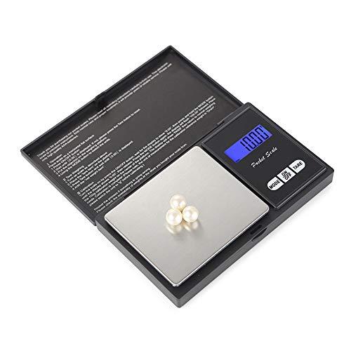 Fuibo Digital Pocket Scale Feinwaage, 500g Präzisions-Digitalwaage für Gold-Schmuck 0,01 Elektronische Waage, Feinwaage Küchenwaage, Lebensmittelwaage Digitalwaage (Schwarz)