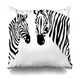 Klotr Fundas para Almohadas Africa Zebras Wildlife Black Safari Stripes White Zoo Zebra Pillowcase Square Size 18 X 18 Inches Home Decor Cushion Cases