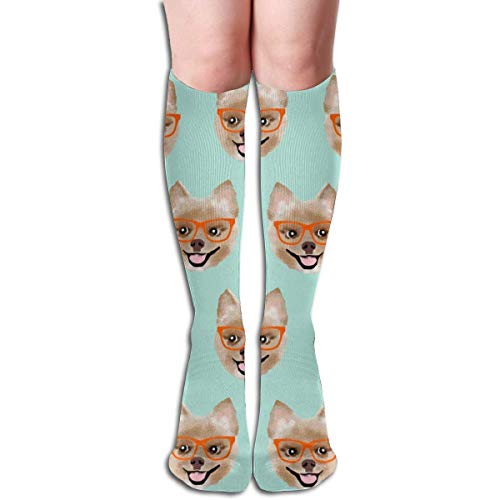 NFHRRE Pomeranian Dog Pom with Glasses - Shorthaired Dog Men's Women's Cotton Crew Athletic Sock Running Socks Soccer Socks 60cm 11 Womens Pom Pom