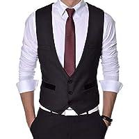 Menjestic Men's Slim Fit Waistcoat Black_40