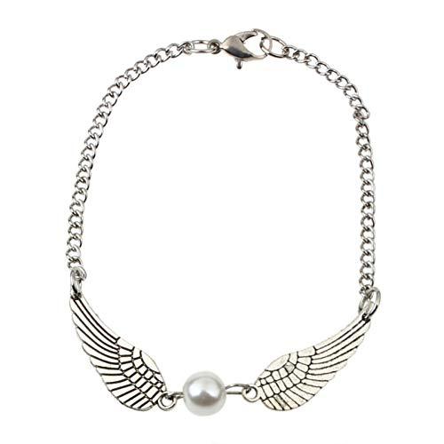 er,Silber Infinity Retro Pearl Angel Wings Schmuck Taube Armband ()