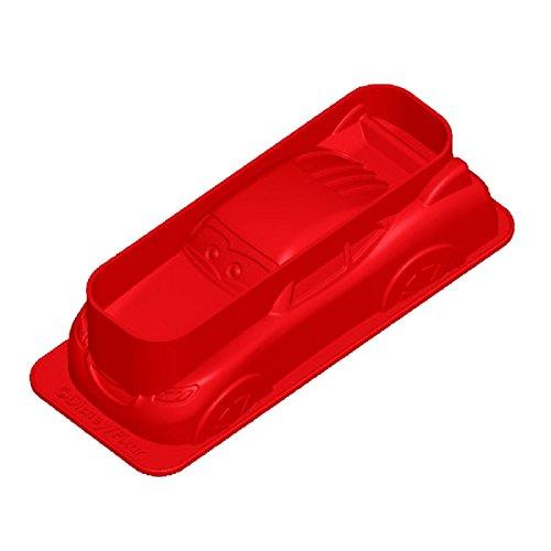 Disney Cars Lightning McQueen, Silikonbackform, antihaftbeschichtet, hohe Formstabilität und Flexibilität, rot, ca. 19 x 8 x 5 cm