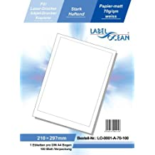LabelOcean LO-0001a-70 100 Etiketten 210x297mm, 100 Blatt DIN A4, 70g/qm, geeignet für Inkjetdrucker-, Laserdrucker und Kopierer.