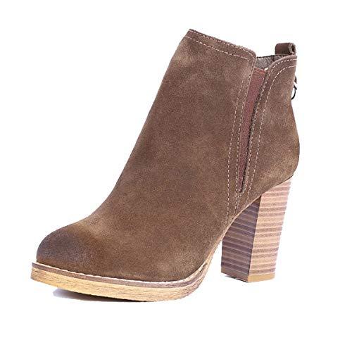 LBTSQ-Fashion Damenschuhe/Runden Kopf Modische Reiben 9Cm Hochhackigen Schuhe Dicke Sohle Seite Reißverschluss und Knöchel Kurze Stiefel Weiblich Ma Dingxue 37 Khaki. -