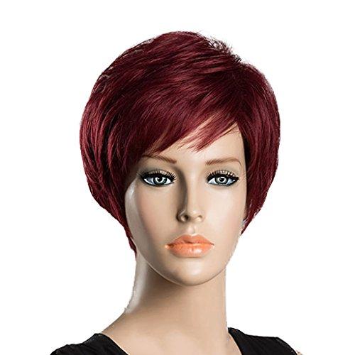 Sharplace Volle Gerade Menschenhaar-Perücken-kurze Perücken/Wein-rote Frauen überlagerte Perücken/9.8 '' + Kappe Für Täglichen/Cosplay Gebrauch (Wein Themen Kostüme)