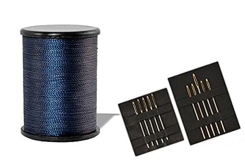 * 100 m Jeansfaden Qualitäts-Nähgarn + zehn Nähnadeln mit Goldöhr | in vielen Farben aus Nylon 210D/2 (Dunkelblau)