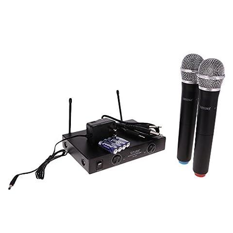 MagiDeal 2pcs Microphones Sans Fil Professionnels Portables et Récepteur à