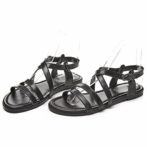 YE Damen Flache Knöchelriemchen Sandalen mit Schnalle ohne Absatz Bequem Schuhe Schwarz