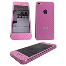 TCD for Apple iPhone 5 5S [PINK] Carbon Fiber Vinyl Skin Warp Decal FULL BODY and Side Sticker Set - Adhesive - NO sticky residue Compatible with Verizon, AT&T, T Mobile