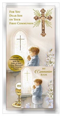 For You Dear SON on Your First Communion Card Gold Metal Cross & Communion Book ~ Holy Communion