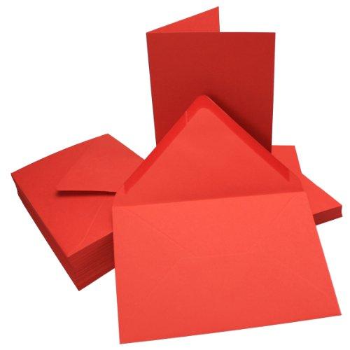 DIN B6 Faltkarten SET mit Umschlägen   Rot   25 Sets   115 x 170 mm   ideal für Einladungskarten, Hochzeit, Taufe, Kommunion, Konfirmation   formstabil   Marke: FarbenFroh®