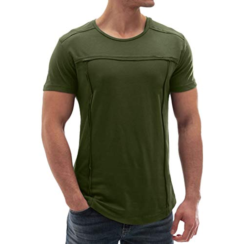 Men's T-Shirt Muscle Summer Patchwork Solid Short Sleeve O-Neck T-Shirt Top Blouse Army Green ()