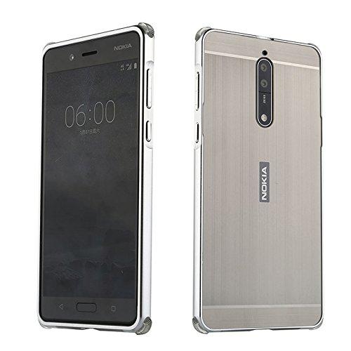 Nokia 8 Hülle,Nokia 8 Metall Cover,WIWJ Handyhülle Metall Case Cover 2 in 1 Aluminium Rahmen Zurück Rückseite Bumper Case Hülle Case Schutzhülle für Nokia 8-Silbergrau