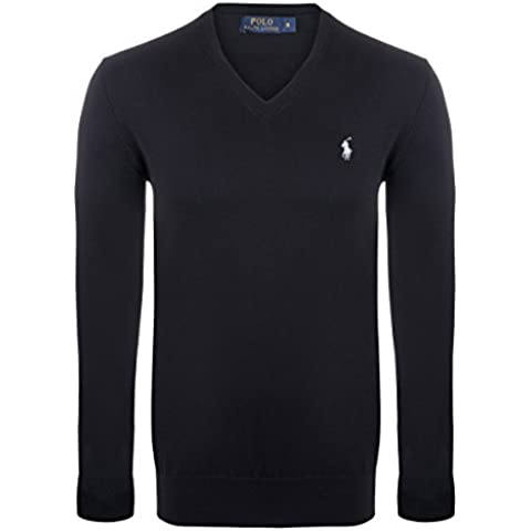 Polo Ralph Lauren Maglione Custom Fit PULLOVER Uomo BSR BLACK / WHITE