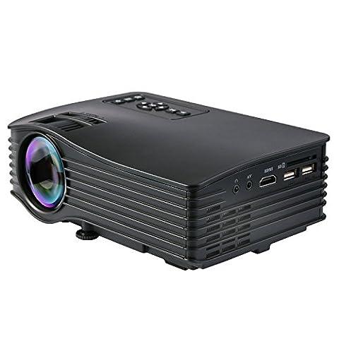 Video Beamer, Deeplee DP36 LED Mini Projektor HD LCD Heimkino Beamer Support 720P 1080P AV / USB / SD / HDMI für Fire TV Stick Laptop PC iPhone Smartphone USB Disk TV Box Projektor - schwarz