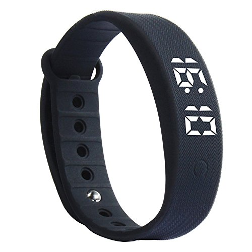Sports Bracelet, Rcool 3D LED Bluetooth Smart Wristband Sleep Sports Fitness Health Monitor Activity Tracker Step Pedometer Walking Calorie Counter Smart Watch Bracelet Compatible with iPhone iOS and Android Phone (Black)