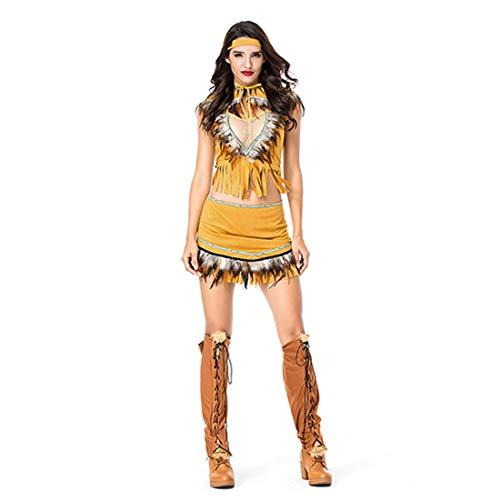 HOOLAZA Frauen Forest Indian Hunter Kostüm Tribal Indianer Indian Prinzessin Cosplay Kleid 5 Stücke Bühnenkostüm Set