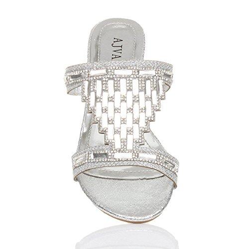 Damen Kleine Blockabsatz Strass Abend Pantoletten Sandalen Badelatschen Größe Silber