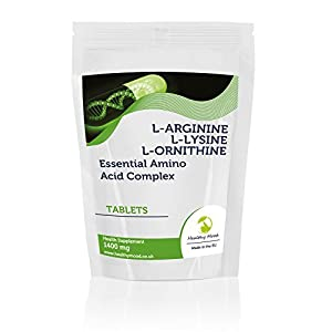 41sU6gk08tL. SS300  - L-Arginine L-Lysine L-Ornithine Essential Amino Acid Complex 1400mg Health Food Bodybuilder Gym Supplement Vitamins 30/60/90/120/180 Tablets Pills Dynamic Fat Burner (7)